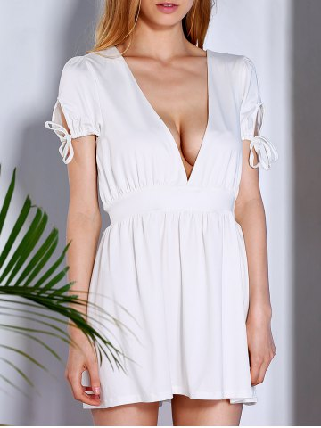 Shop Stylish Short Sleeve Plunging Neck Women's White Dress