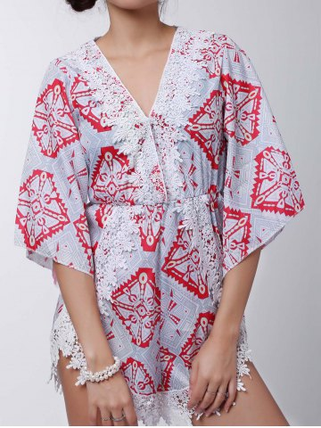 Fashion Stylish Plunging Neck Printed Lace Embellished Women's Romper - S GRAY Mobile