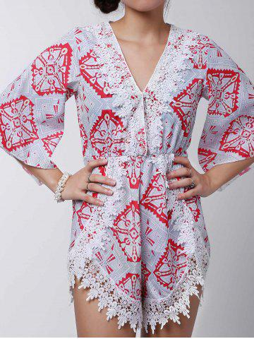 Outfit Stylish Plunging Neck Printed Lace Embellished Women's Romper - S GRAY Mobile