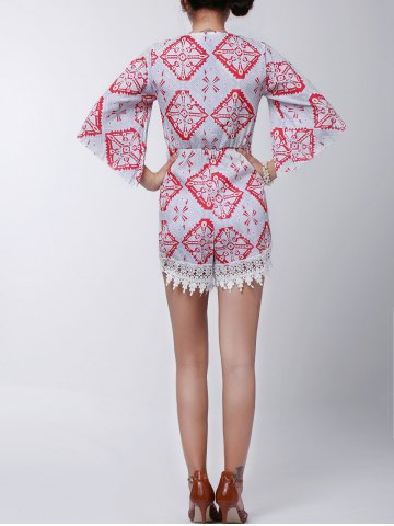 Fancy Stylish Plunging Neck Printed Lace Embellished Women's Romper - S GRAY Mobile