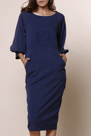 Stylish Round Collar 3/4 Sleeve Pure Color Pocket Design Women's Dress - Blue - M
