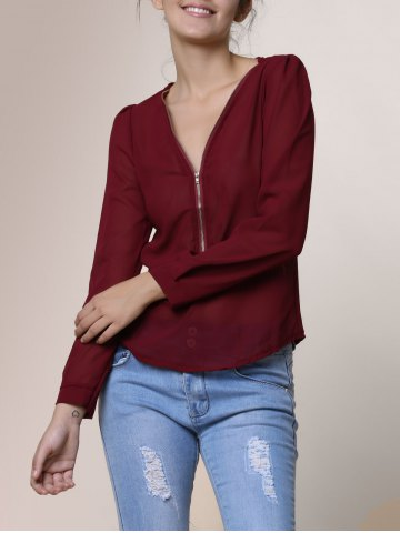 Fashion Stylish V-Neck Long Sleeve Zipper Design Chiffon Solid Color Women's Blouse WINE RED S
