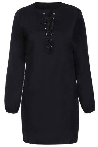 Best Alluring Long Sleeve Pure Color Hollow Out Women's Dress BLACK XL