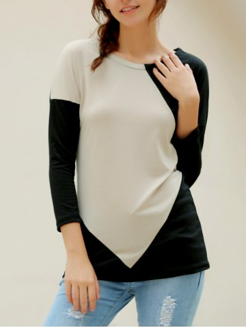 Chic Elegant V-Neck Color Block Long Sleeve Loose-Fitting T-Shirt For Women - L APRICOT Mobile