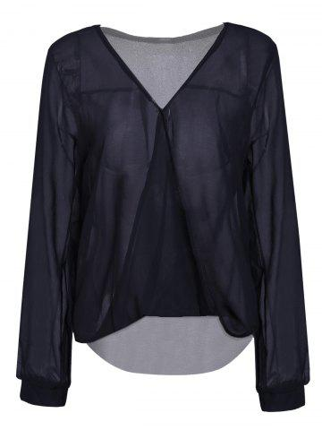 Outfit Stylish Plunging Neck Long Sleeve Solid Color Women's Blouse BLACK M