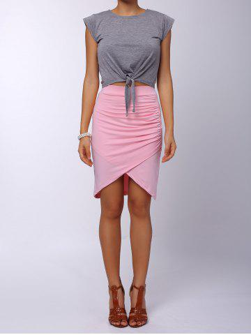 Fashion Ruched Crossover Pencil Skirt - ONE SIZE(FIT SIZE XS TO M) PINK Mobile