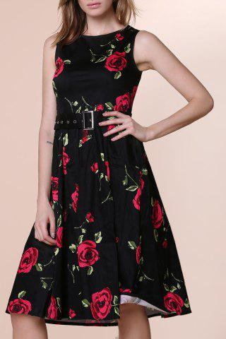Store Retro Style Round Neck Sleeveless Roses Print Women's Ball Gown Dress RED M
