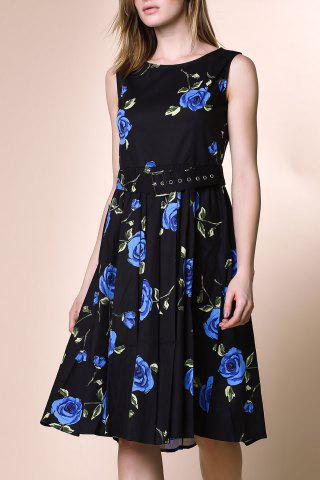 Fancy Retro Style Round Neck Sleeveless Roses Print Women's Ball Gown Dress BLUE M