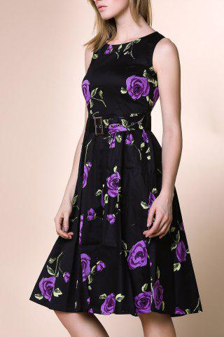 Fashion Retro Style Round Neck Sleeveless Roses Print Women's Ball Gown Dress PURPLE S