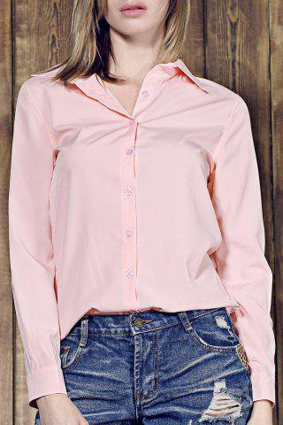 Unique Shirt Collar Long Sleeve Plain Formal Shirt PINK S