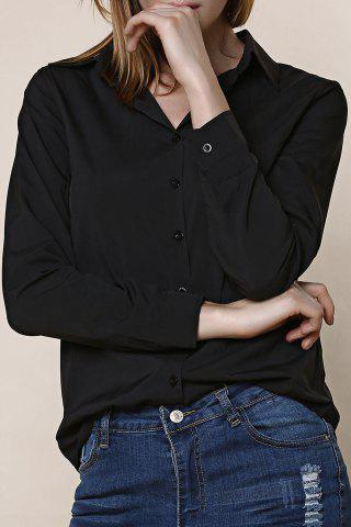 Discount Shirt Collar Long Sleeve Plain Formal Shirt BLACK XL