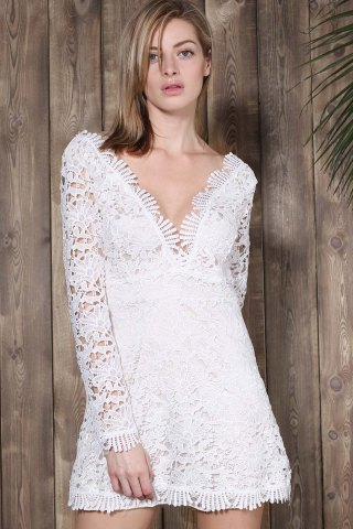 Affordable Mini Plunge Long Sleeve Lace Backless Dress - M WHITE Mobile