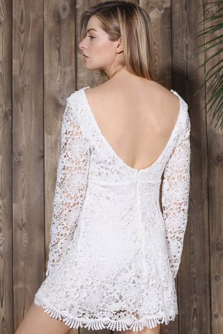 Store Mini Plunge Long Sleeve Lace Backless Dress - M WHITE Mobile