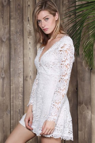 Store Mini Plunge Long Sleeve Lace Backless Dress - L WHITE Mobile