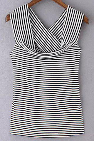 Chic Trendy Off The Shoulder Striped Back Crossed T-Shirt For Women BLACK L