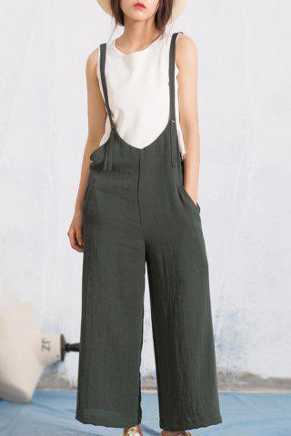Buy Solid Color Wide-Leg Pinafore Pants