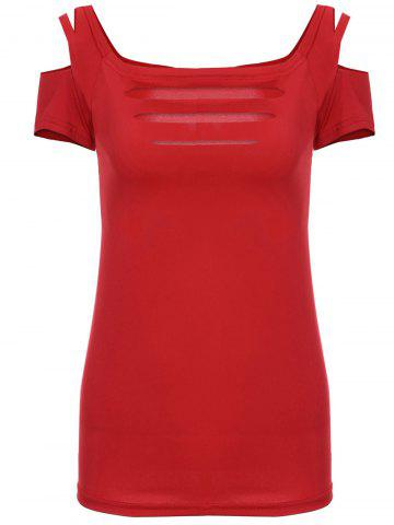 New Solid Color Scoop Neck Short Sleeve Elastic Women's T-Shirt - M RED Mobile