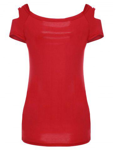 Store Solid Color Scoop Neck Short Sleeve Elastic Women's T-Shirt - M RED Mobile