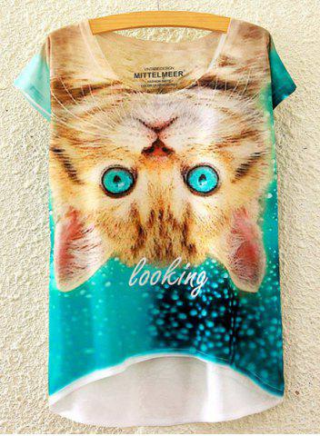 Discount Cute Scoop Neck Kitty Print High Low Short Sleeve T-Shirt For Women