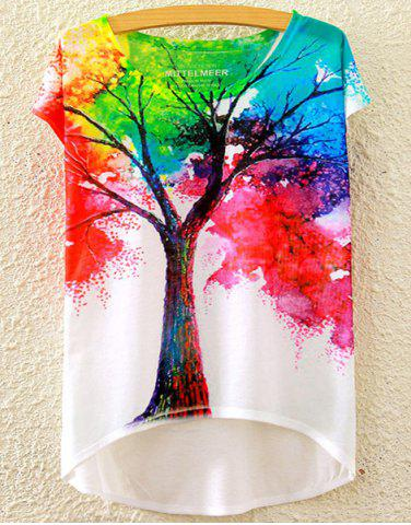 Discount Stylish Scoop Neck Colorful Tree Print High Low Short Sleeve T-Shirt For Women