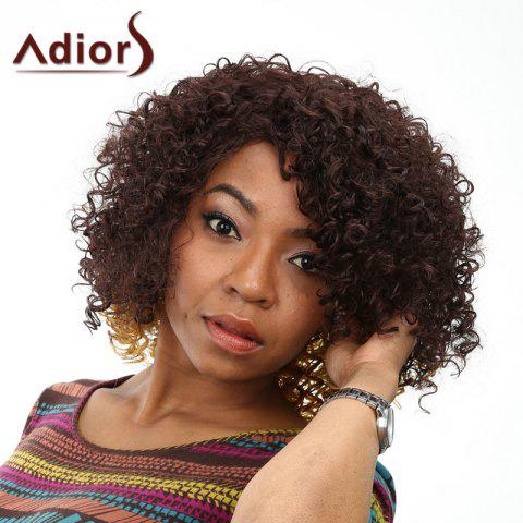 Fashion Trendy Medium Deep Brown Ombre Fluffy Afro Curly Synthetic Wig For Women OMBRE