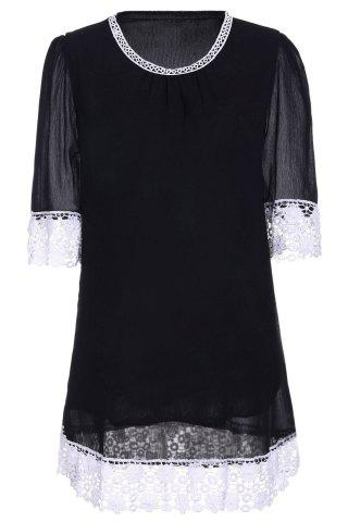 Trendy Casual Lace Insert Mini Shift Dress BLACK L