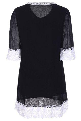 Best Casual Lace Insert Mini Shift Dress - 2XL BLACK Mobile