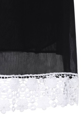 Cheap Casual Lace Insert Mini Shift Dress - 2XL BLACK Mobile