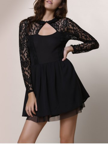 Trendy Keyhole Lace Panel Cocktail Night Out Dress BLACK XL