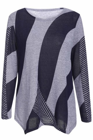 Stylish Scoop Neck Long Sleeves Geometric Printed Irregular Hem T-Shirt For Women - BLUE ONE SIZE