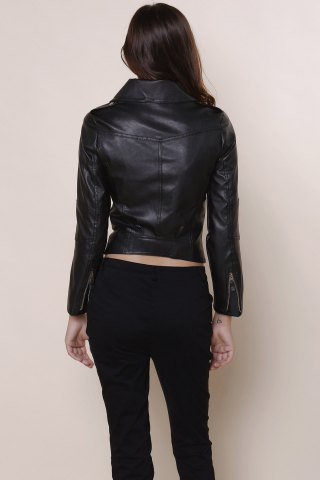 Best Stylish Turn-Down Collar Long Sleeve PU Zippered Women's Jacket - L BLACK Mobile