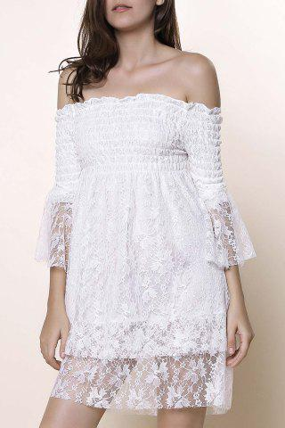 Trendy Off The Shoulder Lace Trim Short Dress WHITE ONE SIZE(FIT SIZE XS TO M)
