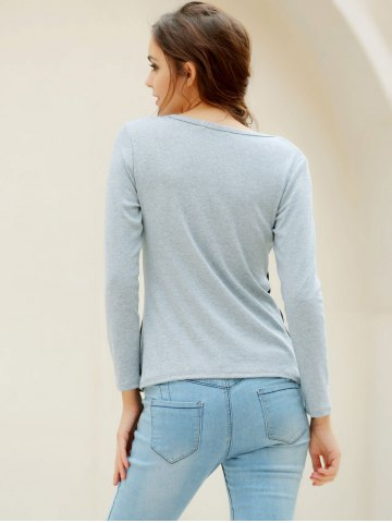 Best Casual Scoop Neck Long Sleeves T-Shirt For Women - XL GRAY Mobile