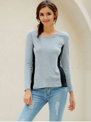 Discount Casual Scoop Neck Long Sleeves T-Shirt For Women - XL GRAY Mobile