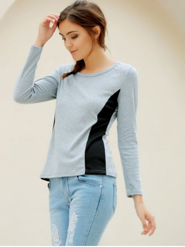 New Casual Scoop Neck Long Sleeves T-Shirt For Women - XL GRAY Mobile