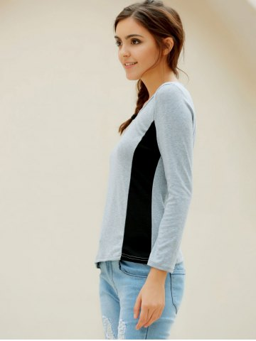 Outfits Casual Scoop Neck Long Sleeves T-Shirt For Women - XL GRAY Mobile