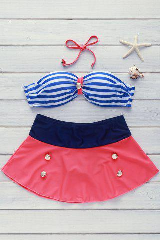 Buy High Waisted Spaghetti Strap Stripe Swimsuit
