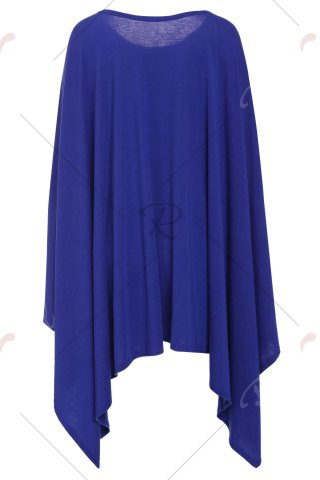 Affordable Stylish Scoop Neck Solid Color Asymmetrical Women's Dress - 2XL DEEP BLUE Mobile