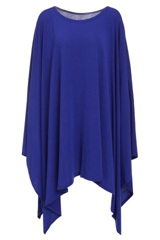 Affordable Stylish Scoop Neck Solid Color Asymmetrical Women's Dress DEEP BLUE L