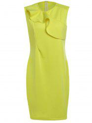 Elegant Yellow Sleeveless Ruffled Spliced Midi Dress For Women