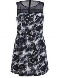 Elegant Sleeveless Printed Chiffon Spliced Bodycon Dress For Women -