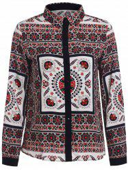 Retro Style Shirt Collar Floral Print Long Sleeve Blouse For Women -