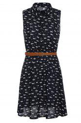 Stylish Shirt Collar Sleeveless Full Cat Print Dress For Women
