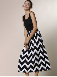 Zigzag Sleeveless A Line Summer Dress - BLACK