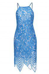 Dress Sexy Scoop Neck manches Backless Bodycon dentelle femmes - Bleu Clair
