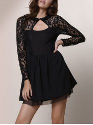 Keyhole Lace Panel Cocktail Night Out Dress - BLACK