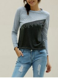 Casual Jewel Neck Color Splicing Diamonds T-Shirt For Women - GRAY