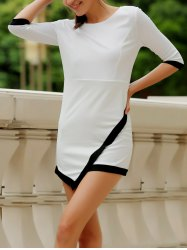 Simple Scoop Neck 1/2 Sleeve Color Block Bodycon Women's Dress
