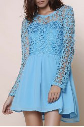 Fashionable Round Neck Lace Splicing Hollow Out Crochet Mini Dress For Women
