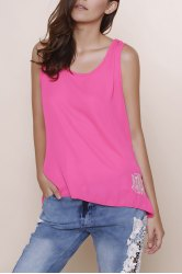 Stylish Scoop Collar Sleeveless Bowknot Design Embroidery Women's Tank Top